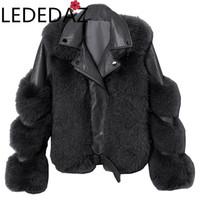 Женский меховой меховой искусственный осень зимние пальто 2021 женские овчины кожаная куртка пушистые тедди пальто толщиной теплый модный моторный моторный байкер