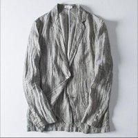 2020 linho m-3xl ternos faixa puro macho macho bonito seção fina protetor solar blazers único jaqueta ocidental primavera p12f