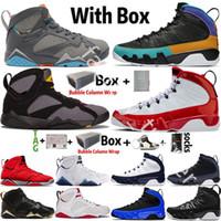 2021 Kutusu Jumpman 7 7s Patta X Ray Allen Olimpiyat GMP Fransız Mavi Erkek Basketbol Ayakkabıları 9 9 S UNC Uc Racer Mavi Eğitmenler Sneakers Boyutu 7-13