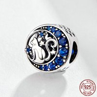 12 MIX DESIGN DESIGN 925 Sterling Silver Cat Pet Animal Animal Charm Beads Fit Braccialetti Original Naughty Blue CZ Beak FAI DA TE Gioielli FAILMENTE ACCESSORIZZARE GIOIELLI