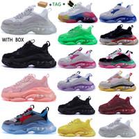 2020 Moda Erkekler Kadınlar Casual Baba Ayakkabı Neon Yeşil Üçlü S 17FW Sneakers Tripler Siyah Pembe Kristal Temizle Tek Alt Platformu Ayakkabı HYVG