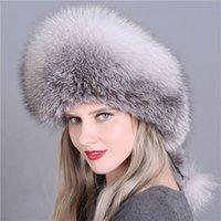 Venta al por mayor Woolen Trapper Hat New Llegada Mujeres Piel gorras Capas de piel reales Casas de piel rusa