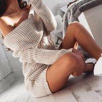 Suéter das mulheres fora do ombro camisola de malha vestido mulheres manga comprida outono inverno solto túnica casual vestidos sólidos casuais