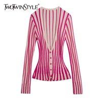 DwoTwinStyle повседневная полосатые свитеры вимонов V шеи с длинным рукавом ударил цвет свитер для женской моды весенняя одежда новая Y200909