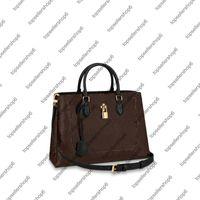 M43550 M43553 M43770 زهرة حمل النساء الأعمال حقيبة كتف محفظة العجل جلدية تقليم مصمم أعلى مقبض قابل للتعديل حزام حقيبة