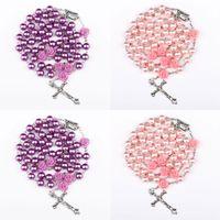 Perlas de perlas simuladas religiosas Púrpura Rose Católico Rosario Collar Collares largos Jesús Joyería 8 N2