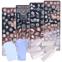 1 مجموعة مسمار الفن ختم لوحات مسمار البولندية طباعة ورقة زهرة dreamcatcher ندفة الثلج عيد الميلاد الختام كشط الإسفنج JISTZN01-12-2