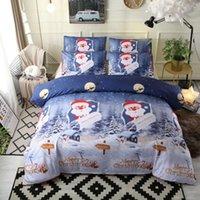 Justchic 3pcs / conjunto azul Feliz Natal Duvet Cobertura Conjunto de Snowflake Santa Claus Pillowcase Quilt Set Beding Bed Decor Presente