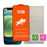 111D Qaulity High Qaulity Couverture complète Colle Ecran Verre trempé pour iPhone 12 11 PRO Max XR XS 7 8 Samsung A01 A11 A12 A21 A31 A41 A51 A71