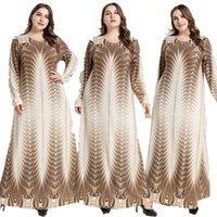 Abbigliamento etnico Donne Donne Abito vintage musulmano Abito a maniche lunghe O-Collo stampato Arabia Abaya Ramadan Islamica Plus Size Slipace casual maxi abito abito1