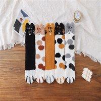 Mujeres calcetines borrosos dibujos animados gato pata 3d oreja bordado mullido medias invierno grueso dama coral coral vellón calcetín terry lindo 3 3cs g2