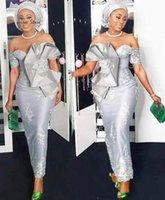 أنيقة aso ebi الأفريقي الشظية 2021 الأم من العروس العريس فساتين الكاحل طول قبالة الكتف الرباط زين الانحناء مساء اللباس الرسمي