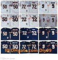 Vintage # 132; Chicago # 132; orsi # 132; maglie di calcio 9 Jim McMahon 72 William Perry 50 Mike Singletary Mitchell Ness Bianco Navy Retr