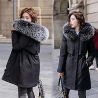 Vielleicht 2020 новый теплый меховой подкладки длинные парки зимняя куртка женская одежда плюс размер 6xL среднее длинное зимнее пальто с капюшоном женщины