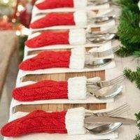 محبوك حقائب عيد الميلاد جوارب سكين شوكة أدوات المائدة حاملي عيد الميلاد عشاء الجدول الحلي السنة الجديدة حزب الديكور JK2011PH