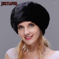 Береты Jeryafur натуральные женщины шляпы для зимнего моды реальный мех со стразами украшения теплые женские Caps1