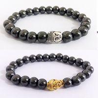 Männer- und frauen legierung gold silber buddha kopf schwarz galstone armband
