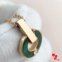 Charme moda diamante colar ouro colar moda natural malaquite letra pingente diamante senhoras jóias presente para casal