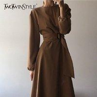 Twotwinstyle Kore Siyah Elbiseler Kadın Yüksek Bel Fener Uzun Kollu Bandaj MIDI Elbise Kadınlar Için Sonbahar Moda Yeni Y200103