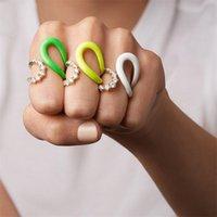 Arco iris Mujeres Coloridas Joyería Verano Venta Caliente Abrir Abra Ajustado Esmalte de Neón Anillo de Dedo Completo Para Mujeres 201218