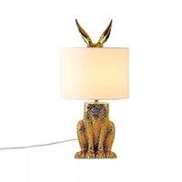 침대 옆 테이블 램프 침실, 사무실, 공부 장식 조명에 대 한 토끼 머리 복고풍 산업용 책상 램프와 현대 라운드 탈구 램프