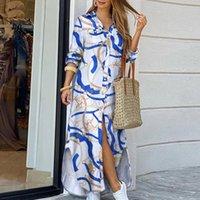 Elegante Maxi Strandkleid Frauen Button Down Langes Hemd Kleid Sommer Kette Print Revers Hals Party Kleid Casual Langarm Vestido J1215