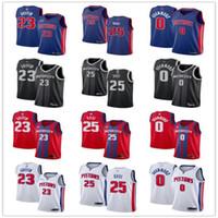 Mens femmes pour femmesDetroitPistons25 DerrickRose 0 Andre Drummond 23 Blake Griffin Bleu Blanc Blanc Custom Basketball Jerseys