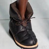 Подушка для подушки Ботинки на лодыжках Женщины пуховые дизайнеры для обуви Платформа плоская обувь Черный нейлоновый водонепроницаемый зимние ботинки теплые снежные ботинки 265