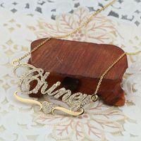 DOREMI Nome Inossidabile Name Collane Pendente Lettere Collana per le donne Bambini di gioielli personalizzati Chain Bambini personalizzati oro Q1114