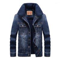 Zhan di Ji PU Hommes Men Denim Épaissement Vestes Jeans Manteau Plus Taille 4XL 1431