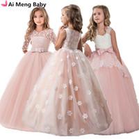 Vintage Flower Girls Robe pour la soirée de mariage Enfants Princess Party Pareant Longue Robe Enfants Robes Pour Filles Vêtements Formels Q1215