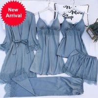 5pcs 잠옷 세트 실크 새틴 Womens 레이스 나이트웨어 봄 스트랩 잠옷 양복 여성 라운지 잠옷 가슴 패드 홈웨어