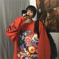 Nicemix Harajuku estilo cartel graffiti impresión con capucha otoño streetwear suelto manga larga jersey fina sudadera mujer tela 201207