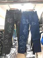 Высокая уличная буква вышивка избавленная бахрома джинсы мужские мыть негабаритные повседневные джинсовые брюки прямые свободные мешковатые джинсы брюки
