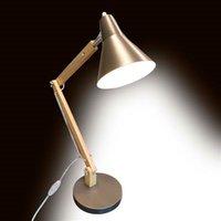 Alightup Classical Mini Fashion Frosted Metal Lampshade i Drewniany Wspornik Tekstury Studium Lampa stołowa ze źródłem światła USA
