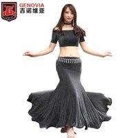 3 шт. Полный комплект Tain Tain + Fishtail Long Skirt + Ожерелье Танцевальные костюмы ожерелья Женщины Ночной клуб DJ Halloween Танца-одежда Costume1