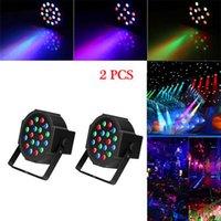 최고의 30W 18-RGB LED 자동 / 음성 제어 DMX512 고휘도 미니 무대 램프 (AC 110-240V) 블랙 * 2 파티 이동 헤드 라이트