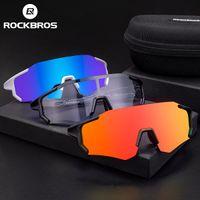 Rockbros 여성 남성 야외 사이클링 편광 안경 타기 안경 자외선 보호 투명 스포츠 안경 자전거 안경 액세서리