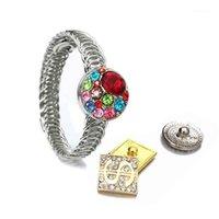 Bangle Punk Style 232 Vintage Eisen Elastische 18mm Schnappknopf Armband Austauschbare Charm Schmuck Für Frauen Männer Sliver Gold1