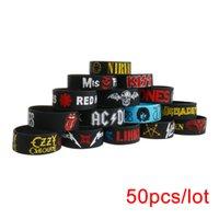 50PCS / Lot Rock Bands Silikon Armband Stor storlek Punk och Hard Metal Wristbands Y1119