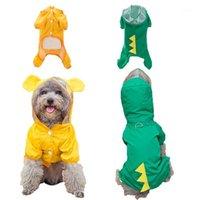 개 입은 귀여운 애완 동물 비옷 두건이없는 방수 의류 작은 중형 개 야외 강아지 노란색 통기성 비옷 공급 1