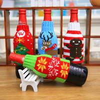 عيد الميلاد زجاجة النبيذ غطاء ندفة الثلج الرنة الأيائل نمط البيرة غطاء سانتا السكاكين الديكور جورب هدية حامل عيد الميلاد ديكور LLS46