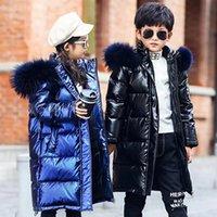 -30 niños Parka Girls Winter White White Duck Jackets para niños Ropa impermeable para niños Piel natural Abrigos con capucha de alta calidad Y1208