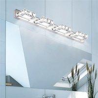 빠른 배달 6W 더블 램프 크리스탈 표면 욕실 침실 램프 흰색 빛 실버 노드 아트 장식 조명 현대 방수 벽 램프