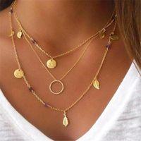 Collar de múltiples capas collar de color oro borlas de color redondo colgante colgante de las señoras collares de joyería accesorios