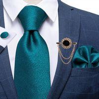 8 cm yeni erkek bağları teal mavi katı resmi düğün iş kravat mendil seti boyunbağı cravat broş aksesuarları dabangu