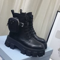 Nuevo estilo de cuero y botas de nylon zapatos de martín botines de combate de tobillo para mujeres bolso extraíble Black Lady Botines al aire libre zapatos