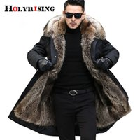 Holyrising Winter men's long coat with big fur collar thick parka Fake raccoon fur Jacket Men Fur Parka warm coat fit Russia 201118