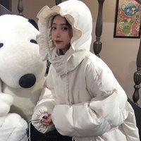 NiceMix kawaii mujeres abrigo de invierno parkas universidad superior acolchada gruesa suelta estudiante lindo Lotus chaqueta de la hoja de la marea dulce femenina 201118