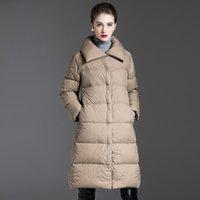 Nueva capa de invierno para mujer con acolchado acolchado cálido grueso largo camuflaje chaqueta casual parkas mujer ultra luz hembra abrigo ropa 201203